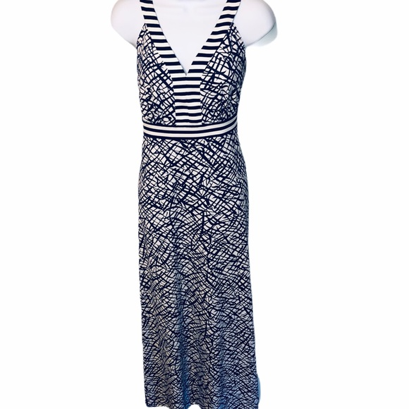 J. McLaughlin Maxi Long Dress Navy & White VGUC